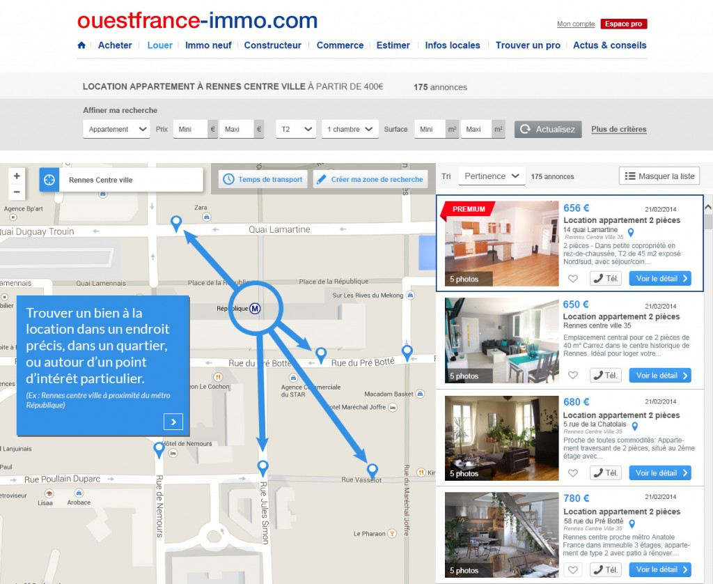 Ouestfrance innove avec la g olocalisation des biens immobiliers lou - Le journal de l agence ...