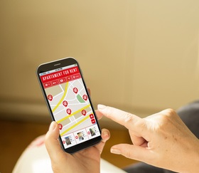 photo : Technology woman home search smartphone