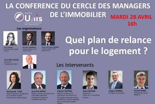 L'Unis Ile-de-France et Grand Paris organise la 5ème conférence virtuelle du «Cercle des managers de l'immobilier»