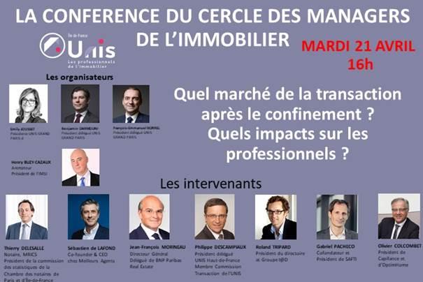 4ème Conférence virtuelle du «Cercle des managers de l'immobilier» mardi 21 avril à 16h