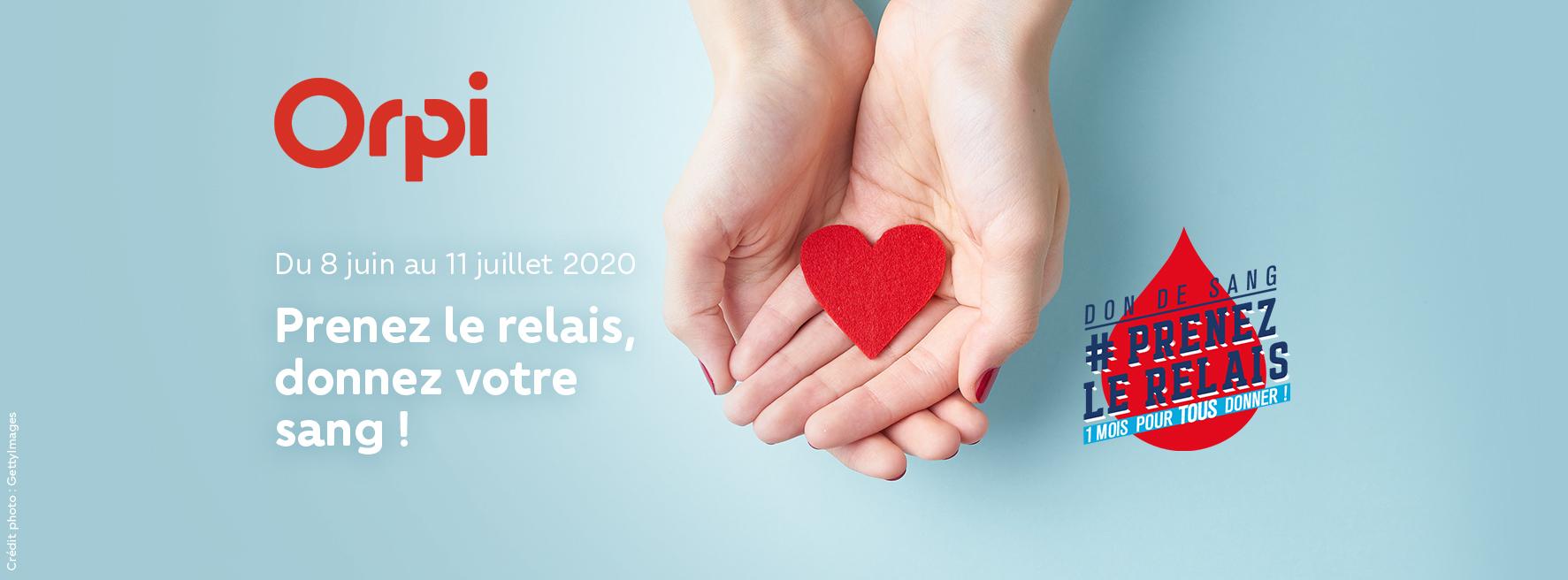 #prenezlerelais : Orpi mobilisé aux côtés de l'EFS pour promouvoir le don de sang