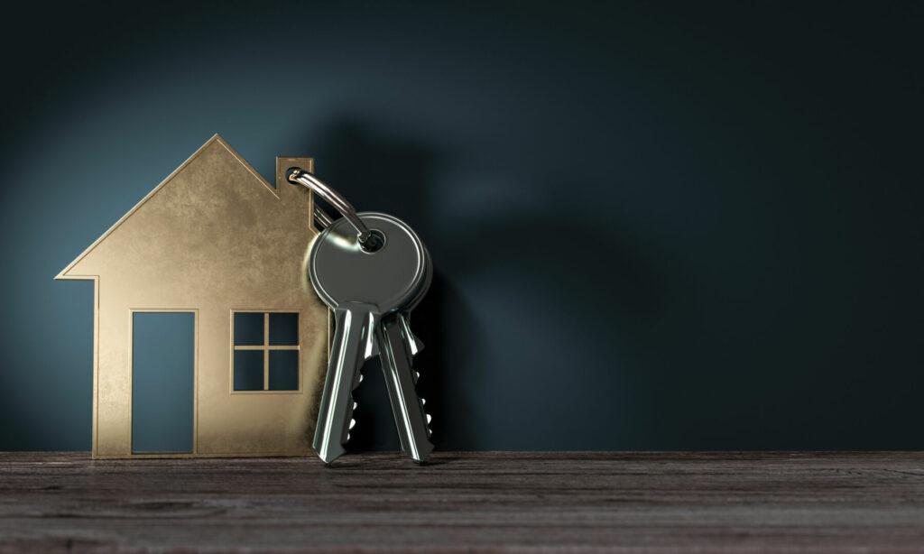 photo : 3d Objekt Haus mit Schlüssel, geschenk zum einzug ins neue Haus