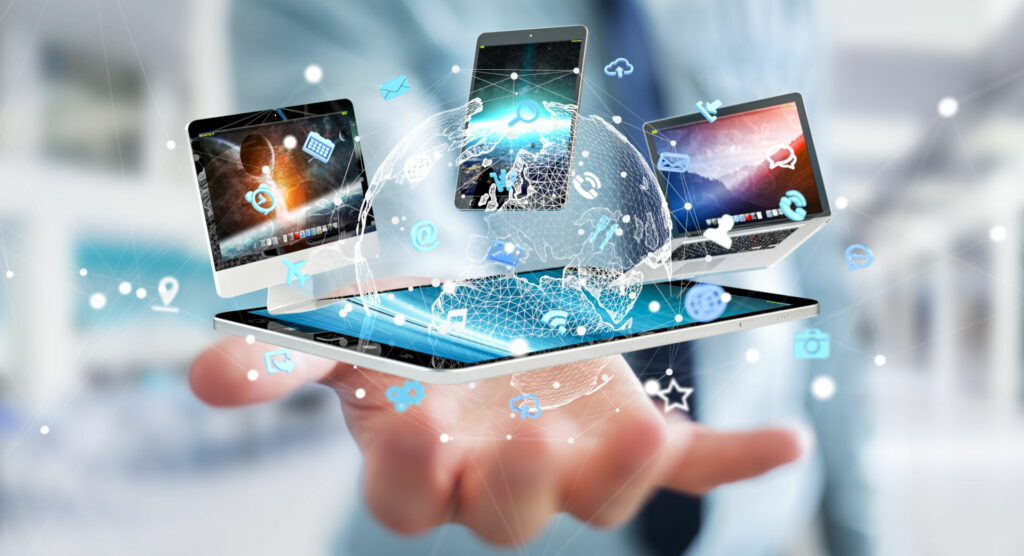 photo : Businessman connecting tech devices to each other 3D rendering
