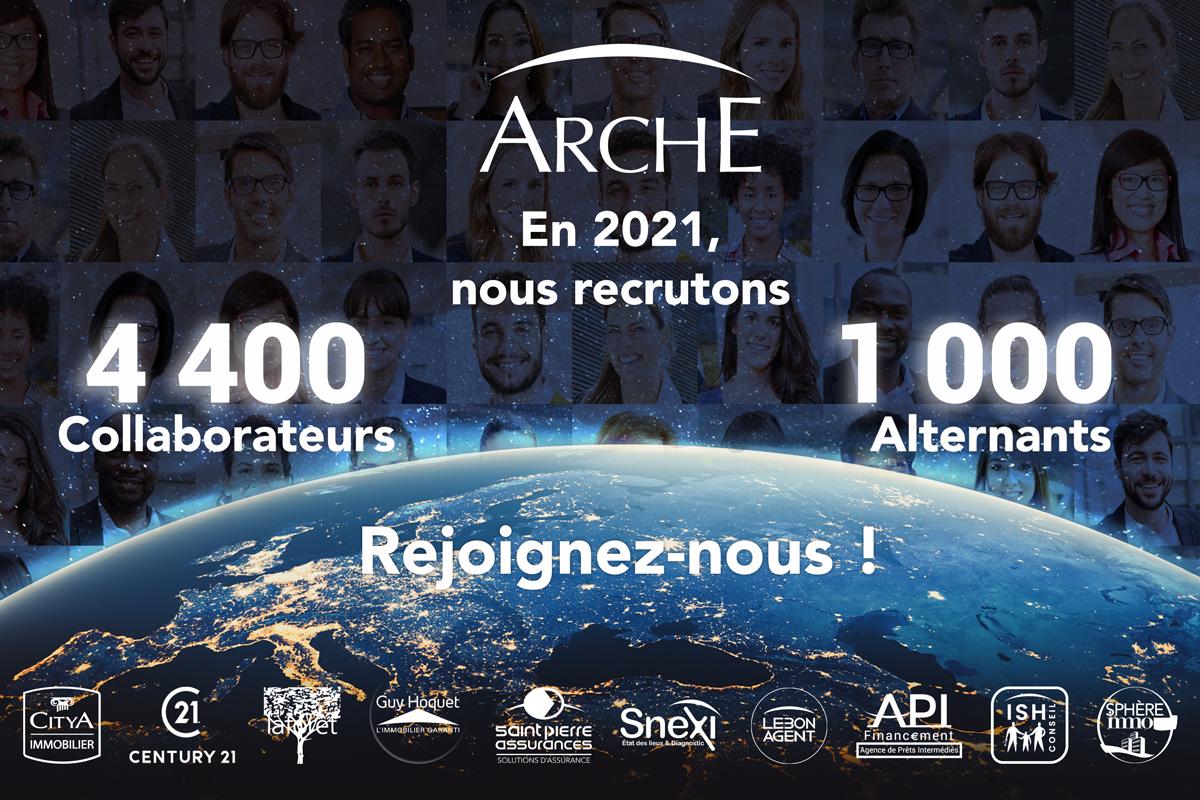 Arche (Citya Immobilier, Laforêt, Guy Hoquet et Century 21) recrute 4 400 postes et 1 000 contrats en alternance