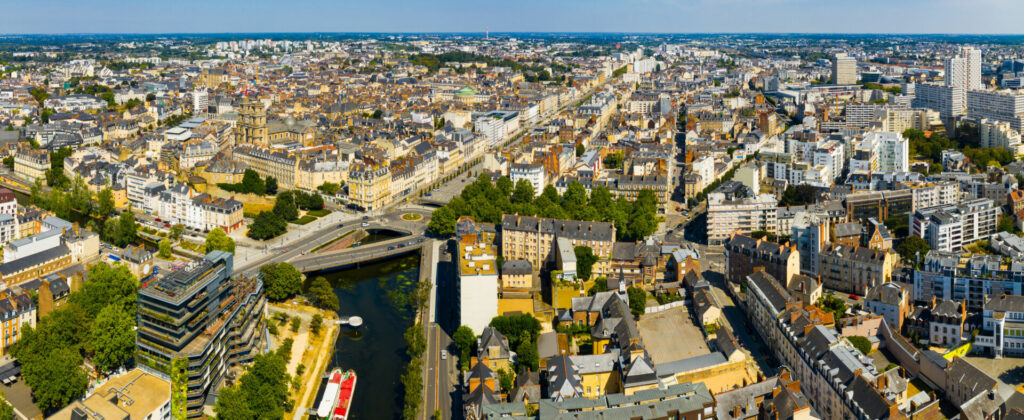 photo : Rennes city with modern apartment buildings , Brittany region, France